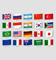 national flags fabric tags g20 countries labels vector image