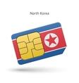north korea mobile phone sim card with flag vector image