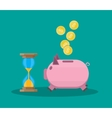 old style hourglass clock and piggy bank vector image