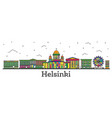 outline helsinki finland city skyline with color vector image vector image
