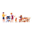 picnic dinner outdoor family grilling food table vector image