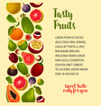 poster of exotic and fresh tropical fruits vector image vector image
