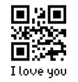 qr code sample with text i love you vector image vector image