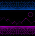 retro neon light synthwave sci-fi background vector image