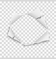 ripped hole in transparent paper with torn edges vector image vector image