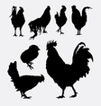 Rooster cock hen chicken silhouette 4 vector image vector image