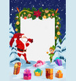 santa with christmas gifts red bag and elf vector image vector image
