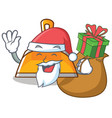 santa with gift dustpan character cartoon style vector image vector image