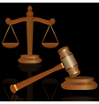 Scale and gavel vector image vector image
