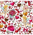 Seamless pattern of sketch Valentines Day icons vector image vector image