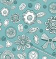 Seamless pattern with blue lace diamonds flowers vector image vector image