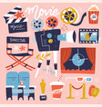 set cinema flat colored doodle collection of vector image vector image