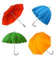 set color umbrella cartoon vector image