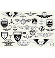 set emblems elements badges logo aviation vector image