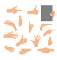 set hands in different gestures isolated on white vector image