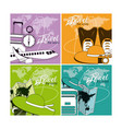 set of world travel cards vector image vector image