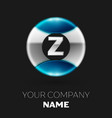 silver letter z logo symbol in silver-blue circle vector image
