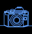 single continuous line photo camera neon concept vector image