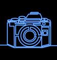 single continuous line photo camera neon concept vector image vector image
