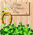 St Patricks Day frame with gold horseshoe on vector image vector image