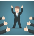 Successful businessman acknowledging many thumbs vector image