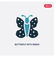 two color butterfly with wings icon from animals vector image vector image