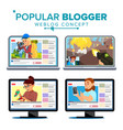 video streamer set personal weblog channel vector image
