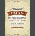 vintage festival poster vector image vector image