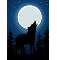Wolf howling at the moon in forest vector image
