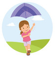 young little girl playing kite in the field vector image