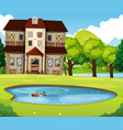 old brick house with lawn and pond vector image