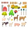 Cartoon farm elements animals building tools vector image