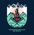 exploring vintage poster of mountain climbing vector image