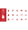 15 block icons vector image vector image