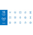 15 timer icons vector image vector image