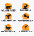 animal silhouettes 2 logo vector image