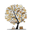 bakery art tree sketch for your design vector image vector image