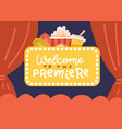 banner cinema hall screen and red curtains vector image