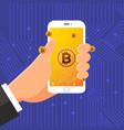 bitcoin hand vector image vector image