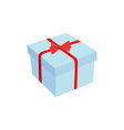 Blue gift with red ribbon and a bow vector image