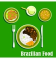 Brazilian cuisine icons with national dishes vector image