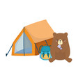 camping cute bear with backpack lantern tent vector image