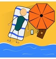 Cartoon businessman relaxes on the beach vector image