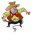 cartoon man in a cowboy hat brandishing a whip vector image vector image