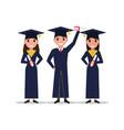 cartoon student girl boy graduate vector image
