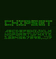 chipset font with circuit board letter vector image