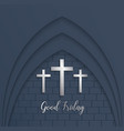 cross for good friday on brick background vector image vector image