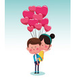 cute boy with girl cartoon vector image vector image