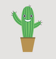 cute cactus in the flower pot vector image