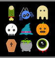 Cute fun halloween icons set